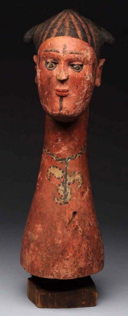 Folk Art Carved Wooden Head.