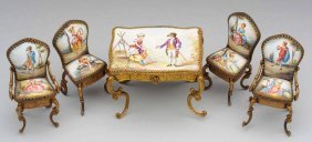 Viennese Enamel & Bronze Miniature Dining Set
