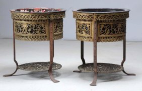 Pair Of Oscar Bach Bronze Jardiniere On Stands.