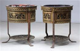 Pair of Oscar Bach Bronze Jardiniere on Stands
