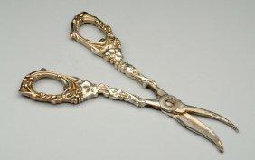 Pair Of Sterling Grape Scissors.
