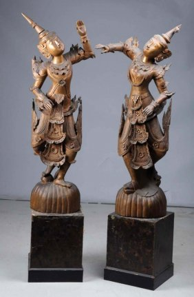 Pair Of Asian Wood Carved Figures.