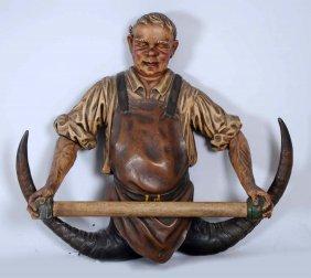 Carved Polychromed Wood & Horn Hat & Scarf Rack.