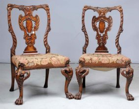 Pair Of Vintage Carved Wooden Chairs.