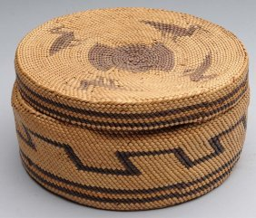 Native American Indian Basket With A Lid.