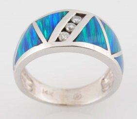 14k Gold, Inlaid Black Opal & Diamond Ring.