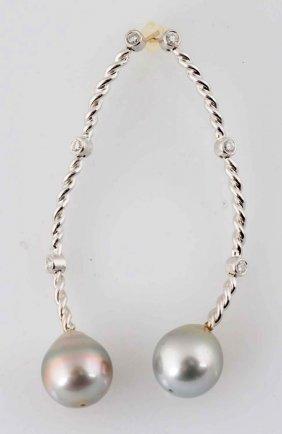 Diamond & 12mm South Sea Pearl Earrings.