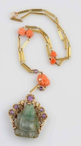 14k Jade Buddah Amethyst & Carved Coral Necklace.