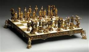 Piero Benzoni Silver Plated & Gilt Chess Set.