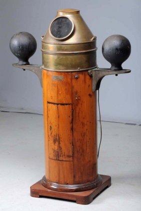 Antique Bronze & Wood Ship's Compass.
