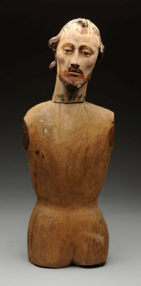 18th Century Carved Wooden Spanish Santos Figure.