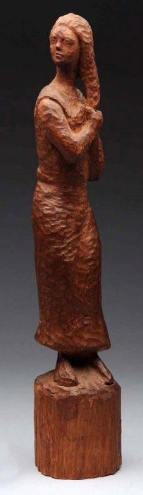 Carved Wooded Sculpture Of Woman.