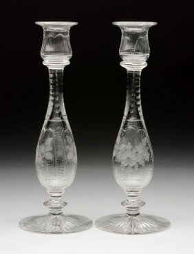 Lot Of 2: Cut Glass & Etcched Candlesticks.