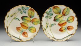 Pair Of Royal Worcester Rose Lease Dishes.