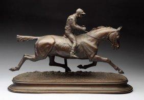 French Bronze Race Horse & Jockey.
