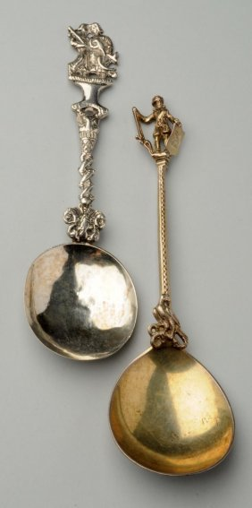 Two Cast Silver Apostle Spoons.