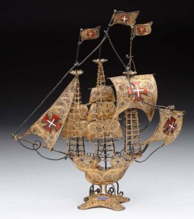Portuguese Silver Filigree Ship.