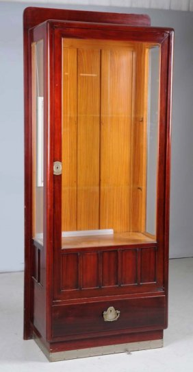 Large Glass & Wooden Display Case.