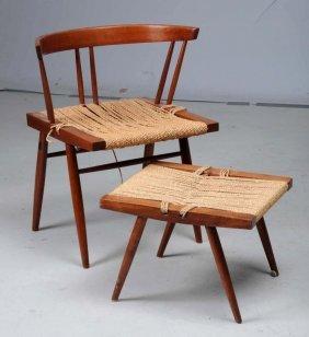 George Nakashima Black Walnut & Seagrass Chair.