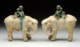 Lot Of 2: Chinese Porcelain Elephant Figurines.