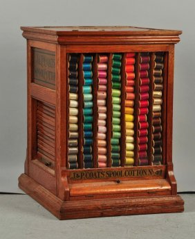 J. & P. Coats Spool Cotton Wooden Box.