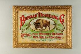 Monumental Buffalo Distilling Co. Tin Litho Sign.