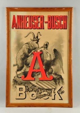 Anheuser Busch Bock Beer Paper Sign.