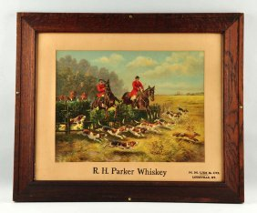 R.h. Parker Whiskey Advertising Sign.