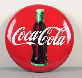 1955 Painted Tin Coca-cola Button.