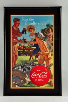 Coca-cola Cardboard Advertising Sign.