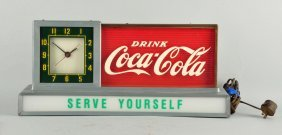 Coca-cola Serve Yourself Countertop Light & Clock.