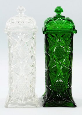 Lot Of 2: Pressed Glass Straw Holders.
