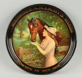 A.h. Lights Horse & Woman Advertising Tray.