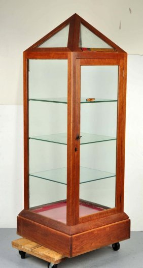 Large Wooden & Glass Display Case W/ Pointed Top.