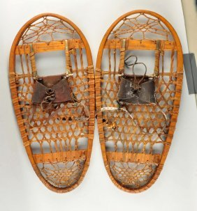 Pair Of Early Wooden Snow Shoes.