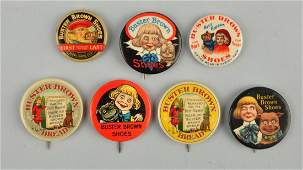 Lot of 7 Buster Brown Advertising Pinbacks