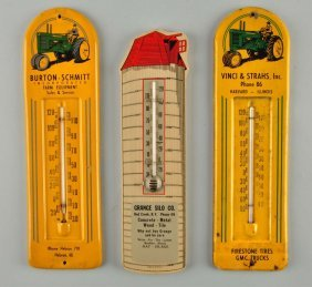 Lot Of John Deere Advertising Thermometers.