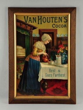 Van Houten's Cocoa Cardboard Advertising Sign.