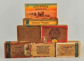 Lot Of 6: Early Cigar Boxes With Paper Label.