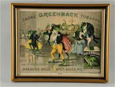 Greenback Tobacco Paper Advertising Sign.