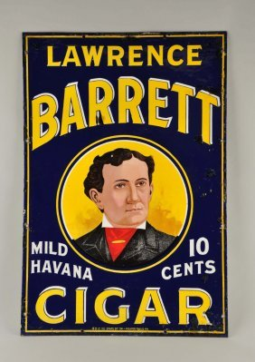 Lawrence Barrett Cigar Porcelain Advertising Sign.