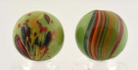 Lot Of 2: Same Cane Banded Opaque Marbles.