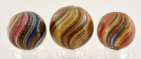 Lot Of 3: Onionskin Lutz Marbles.