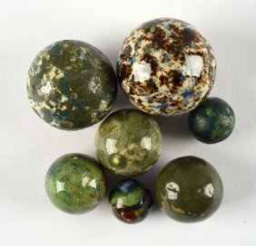 Lot Of 7: Hard To Find Bennington Style Marbles.