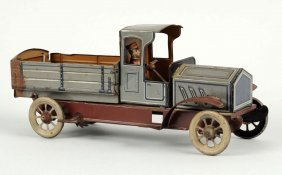 German Tin Litho Wind-up Pickup Truck Vehicle.