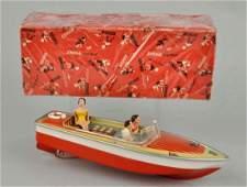 German Tin Litho Arnold Speed Boat Toy.