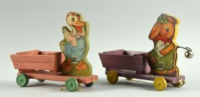 Lot Of 2: Fisher Price Paper On Wood Animal Carts.