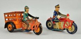 Lot Of 2: Marx Tin Litho Wind Up Motorcycle Toys.