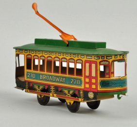 Chein Tin Litho Broadway Trolley Toy.