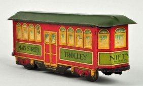 German Nifty Tin Litho Wind Up Main St Trolley.
